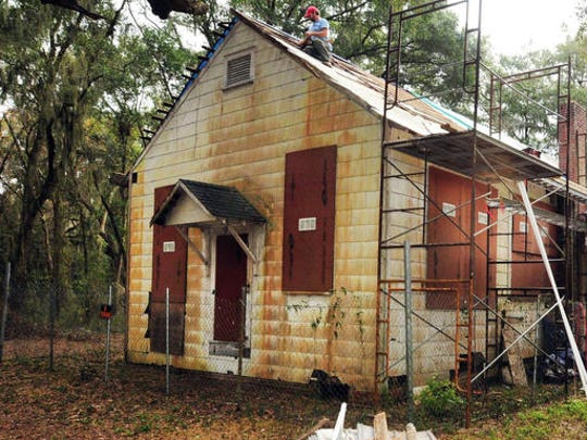 This undated photo shows a one-room schoolhouse built in the 1920s to teach black children on St. Simons Island, Ga. Preservationists saved the Harrington School from scheduled demolition in 2010 and since then have spent about $300,000 to stabilize its deteriorating frame and leaky roof. Recently, the group Friends of the Harrington School announced a grant award that it hopes will bring in $50,000 needed to finish restoring the schoolhouse's interior.