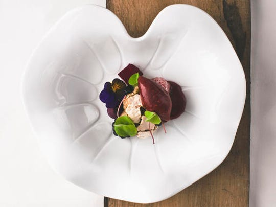 """This April 2016 photo provided by Hisa Franko shows a dish by chef Ana Ros at her restaurant, Hisa Franko, in the remote village of Kobarid, in the western part of Slovenia. Ros, 44, who starred last year in an episode of the """"Chef's Table"""" Netflix series, heads the kitchen and her husband Valter Kramar, 49, is the resident cheese and wine expert at the inn and restaurant on the small farm he inherited from his father."""