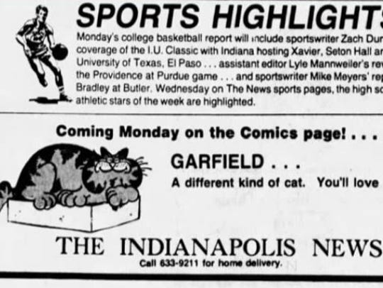 The Indianapolis News brought Garfield to readers in