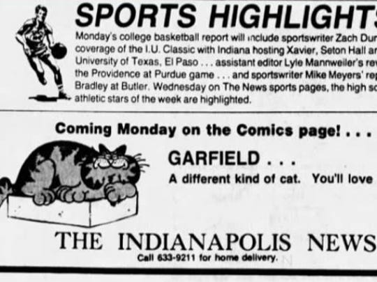 The Indianapolis News brought Garfield to readers in 1979.