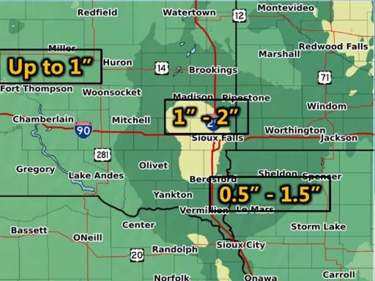 The National Weather Service says several inches of rain is possible in eastern South Dakota on Wednesday.