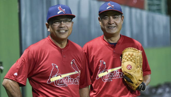 The Agat Cardinals players.
