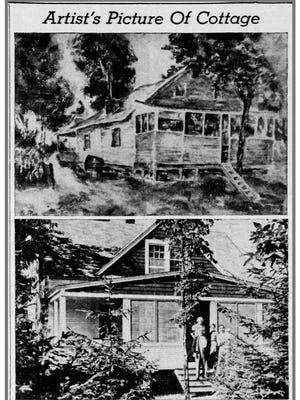 Pictured here are an 1840 cottage and 1940 cottage in Black River, one in the same. David Wilson, first settler in Wilson township, built in 1840 the log cabin in the drawing. The drawing comes from a painting by Harry Pink, of Chicago. In 1940, the cabin was demolished by Charley Schwarz and a modern cabin was built on the same site. Mr. Pink spent his summers with the Schwarz family.