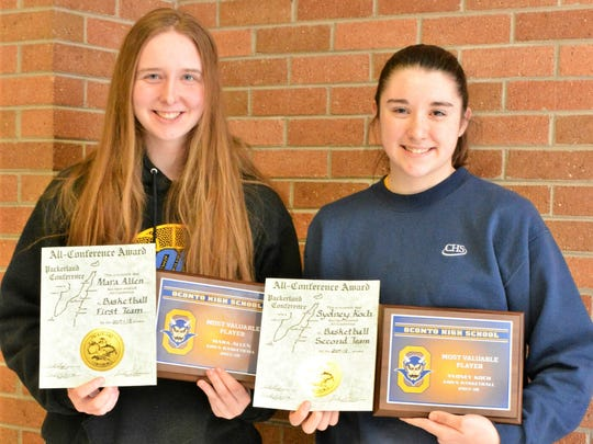Oconto girls basketball players Mara Allen and Sydney Koch were named to the First Team and Second Team Packerland All Conference, respectively, as well as team co-MVPs.