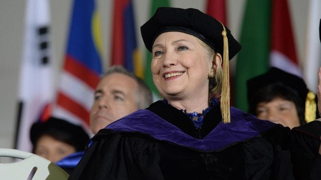 Hillary Clinton was the commencement speaker at Wellesley College on May 26, 2017 in Wellesley, Mass. Clinton graduated from Wellesley College in 1969.