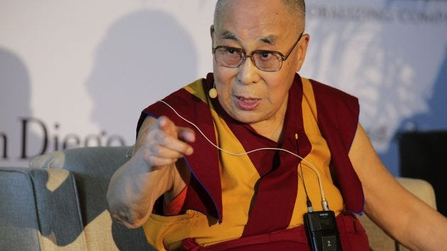 "The Dalai Lama speaks to the crowd at the start of a press conference at the University of California-San Diego, June 16, 2017. The Dalai Lama gave a speech titled ""Embracing the Beauty of Diversity in Our World."" He is in San Diego to deliver a commencement speech to the university graduates on June 17, 2017."