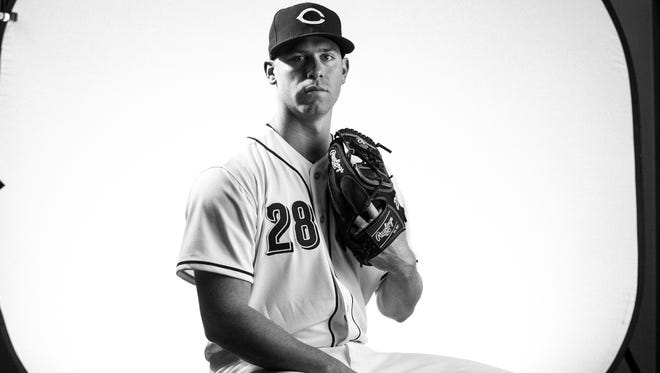 Cincinnati Reds starting pitcher Anthony DeSclafani (28) poses during picture day at the Cincinnati Reds training complex in Goodyear, Ariz., on Tuesday, Feb. 20, 2018.