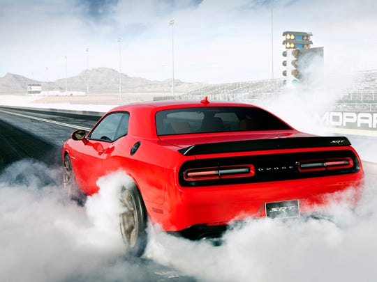 Fully throttled, the 2015 Dodge Challenger SRT Hellcat burns 1.5 gallons of gas per minute.