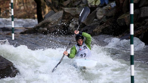 Paddlers take on the slalom course on the Nantahala River during a past Bank of America Whitewater U.S. Open. The slalom and wildwater races hosted by the Nantahala Racing Club take place Saturday and Sunday.