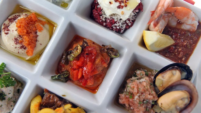 Chef selection of daily mezze with bread is served at 8 North Broadway in Nyack