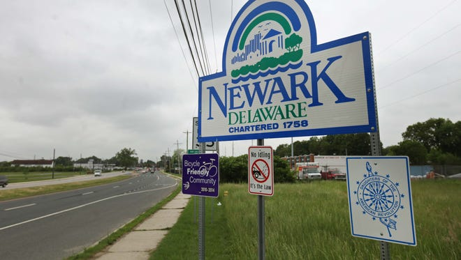 A welcome sign on Del. 273 in Newark is shown.