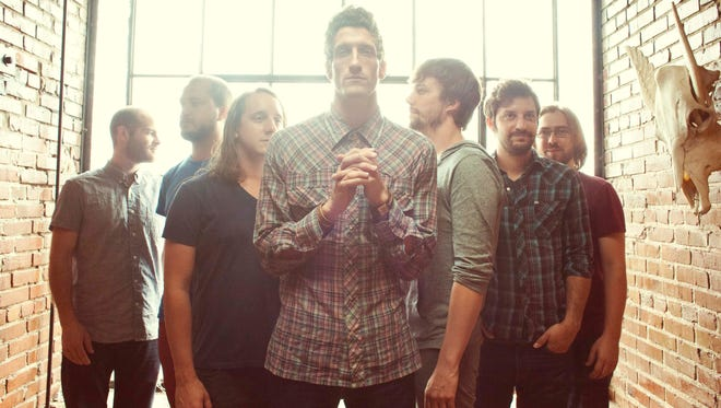 The Revivalists, left to right: Andrew Campanelli (drums), Rob Ingraham (saxophone), George Gekas (bass), David Shaw (vocals), Ed Williams (pedal steel guitar),  Zack Feinberg (guitar), and Michael Girardot (keys/trumpet).