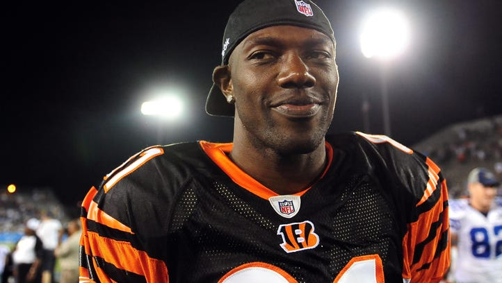 Aug 8, 2010; Canton, OH, USA; Cincinnati Bengals wide receiver Terrell Owens (81) walks off the field after a preseason game against the Dallas Cowboys at Fawcett Stadium. Mandatory Credit: Andrew Weber-US PRESSWIRE ORIG FILE ID:  20100808_mje_aw3_455.jpg