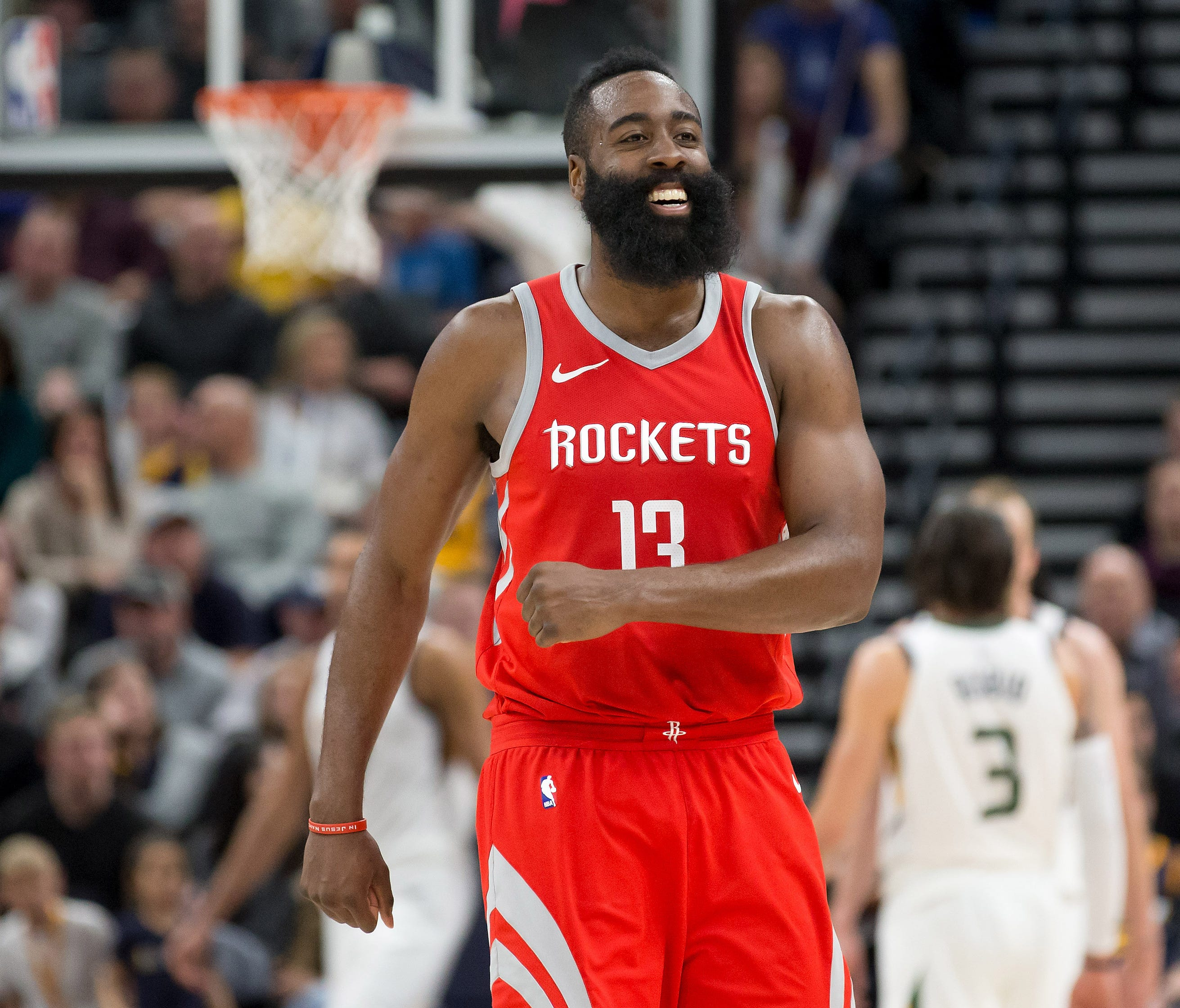James Harden reacts during the second half against the Utah Jazz at Vivint Smart Home Arena.