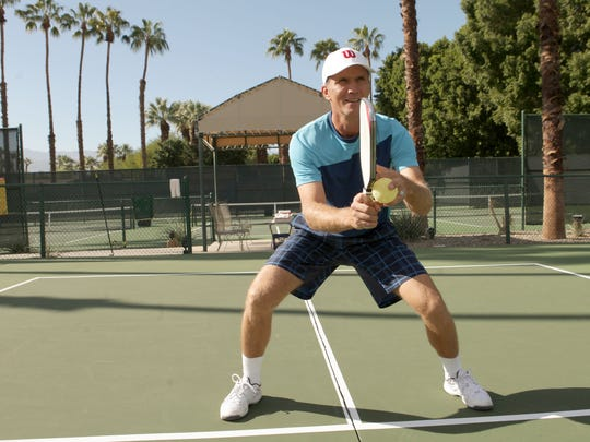 Marcin Rozpedski demonstrates proper pickleball form
