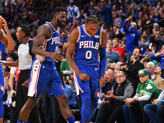 Josh Richardson of the Philadelphia 76ers reacts during a game against the Boston Celtics on Oct. 23, 2019 at the Wells Fargo Center in Philadelphia. Copyright 2019 NBAE (Photo by Jesse D. Garrabrant/NBAE via Getty Images)