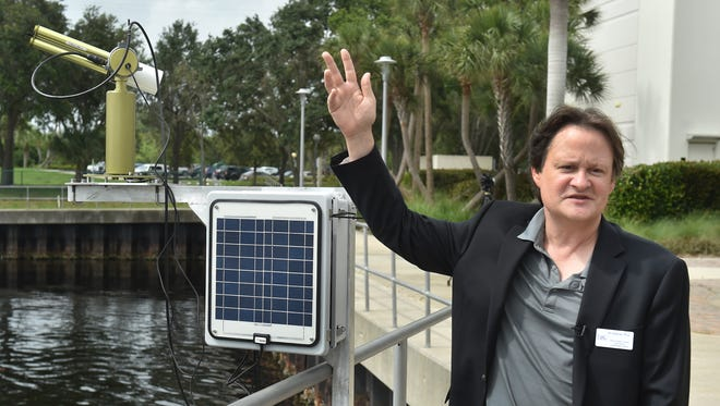 Jim Sullivan, interim Executive Director of Harbor Branch Oceanographic Institute at Florida Atlantic University, introduces the SeaPRISM algae-monitoring system during a meeting on Wednesday, May 30, 2018, at the Harbor Branch campus in northern St. Lucie County. Sullivan was given the full-time director job Friday, Aug. 10, 2018.