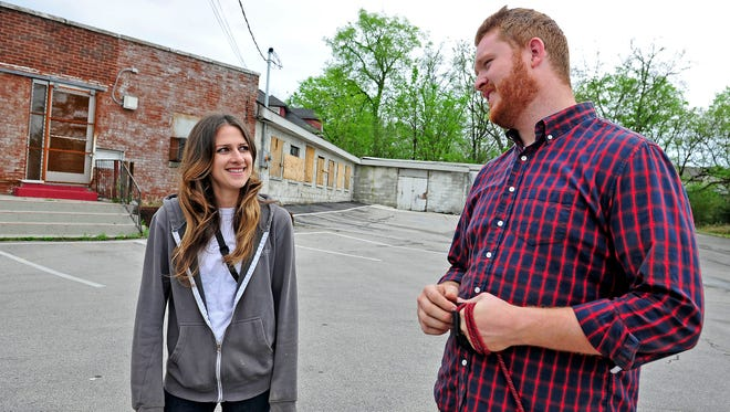 Kelly Bonadies, owner of Bonadies Urban Development, talks with Schuyler Anderson of Salemtown Board Co. in  2015 about that business' then planned move to Buchanan Street from Germantown.