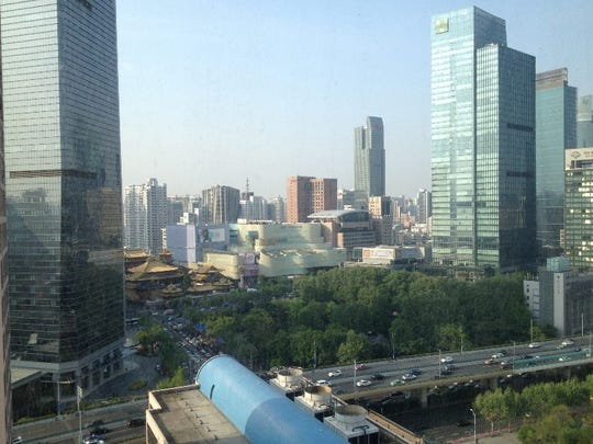 The view from the 19th floor of a Hilton Hotel in Shanghai.