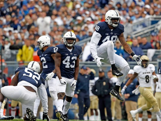 Penn State's Shareef Miller (48) reacts after a tackle for a loss against Akron during the first half of an NCAA college football game in State College, Pa., Saturday, Sept. 2, 2017. (AP Photo/Chris Knight)