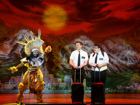 "Two Mormons (David Larsen, left, and Cody Jamison Strand) arrive in Uganda in ""The Book of Mormon."" The touring musical broke box office records in Southwest Florida last season at both Mann Hall and Artis-Naples."