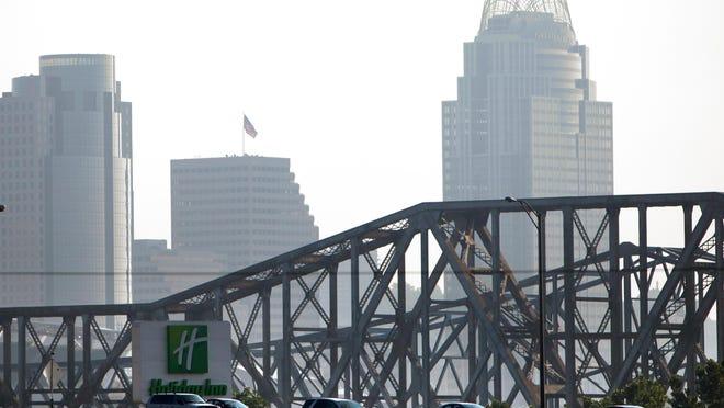 Cars pass through the Brent Spence Bridge on Interstates 71/75.
