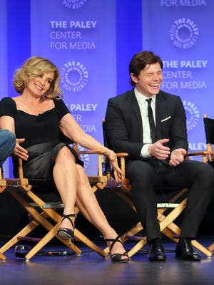 """Jessica Lange and Evan Peters attend the Paley Center for Media's 32nd annual Paleyfest LA's  """"American Horror Story: Freak Show"""" on March 15, 2015, in Hollywood, Calif."""