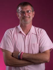 Nick Edwards with the Autauga County Relay for Life Men in Pink fundraiser is shown in Montgomery, Ala. on Tuesday October 11, 2016.