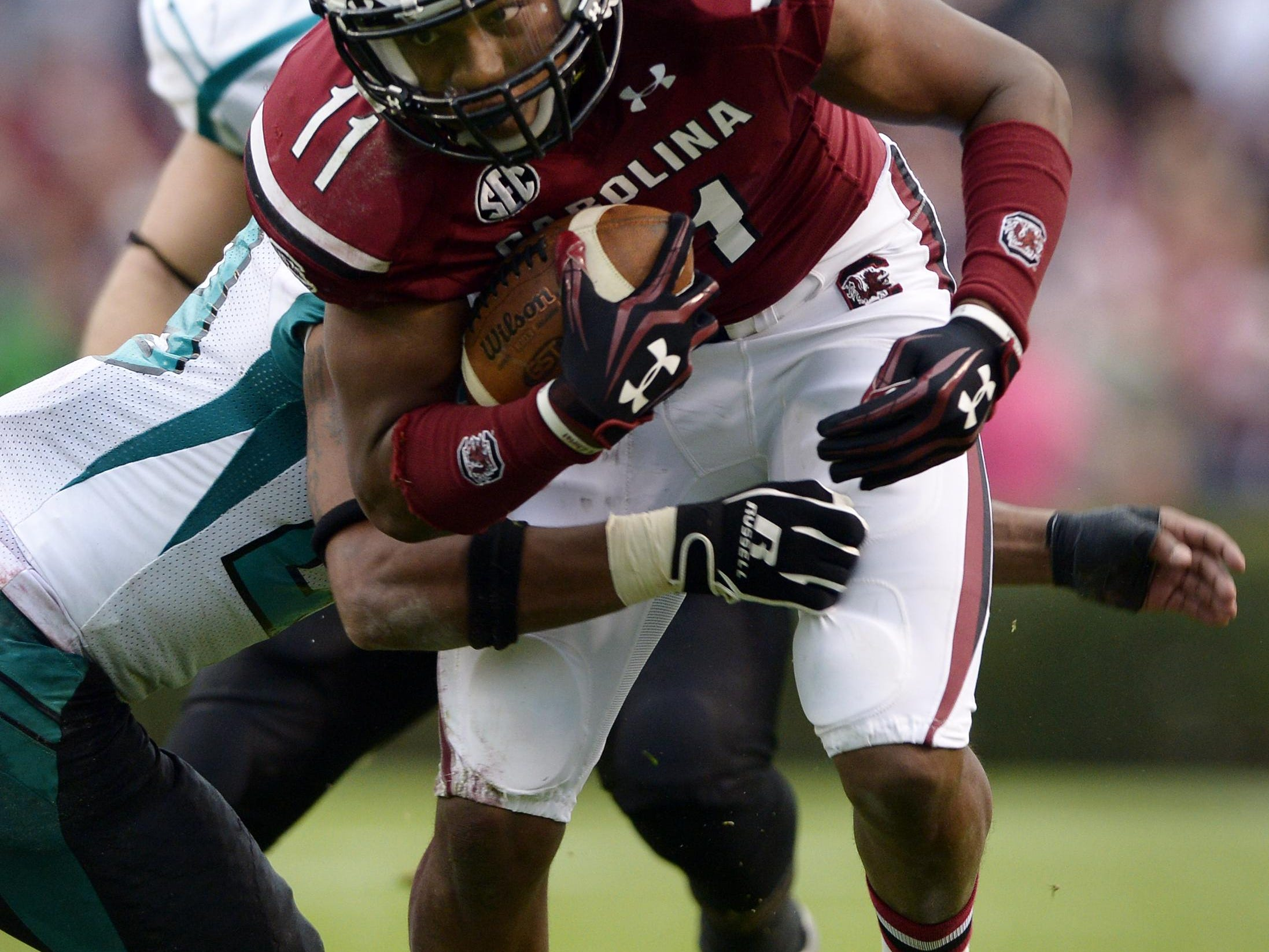 South Carolina's Pharoh Cooper earns First Team Coaches Preseason All-SEC at three positions.