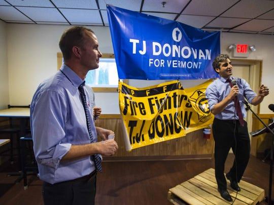 Chittenden County State's Attorney T.J.Donovan, left,