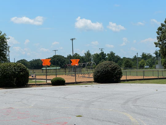 The current playground at Townville Elementary School