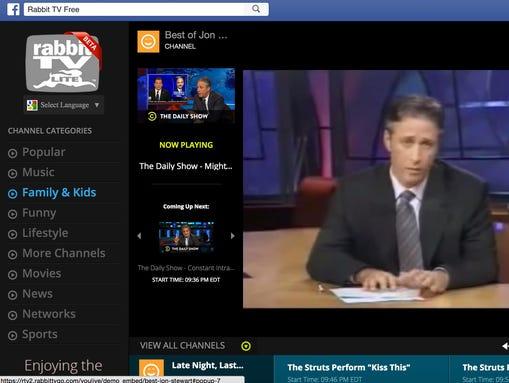 A screen shot of Rabbit TV app on Facebook.