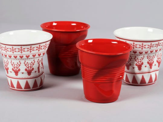 Revol Christmas Crumpled Cups come in red and Moose design, shown, or two other holiday motifs: Gingerbread and Santa.