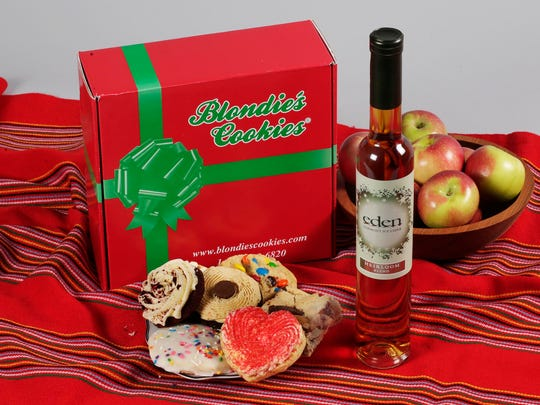 This photo shows Blondie's Cookies and a bottle of Eden Heirloom Blend Ice Cider in New York. These treats should satisfy the sweet-tooths on your holiday gift list.