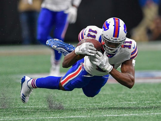 Buffalo Bills wide receiver Zay Jones (11) can't hold a pass against the Atlanta Falcons during the first half at Mercedes-Benz Stadium. Mandatory
