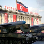 In this Saturday, Oct. 10, 2015, photo, missiles are paraded in Pyongyang, North Korea during the 70th anniversary celebrations of its ruling party's creation. (AP Photo/Wong Maye-E)