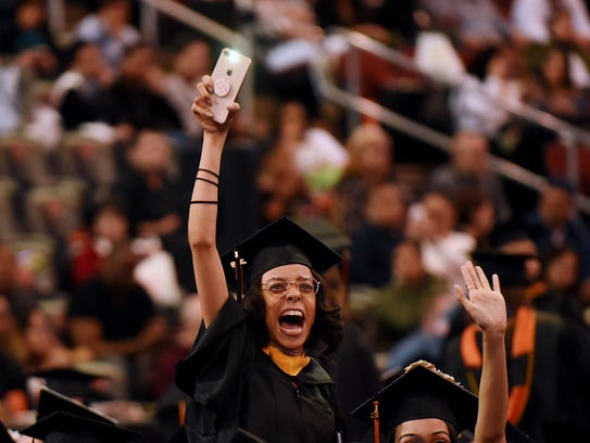 This graduate clearly could not contain her jubilation