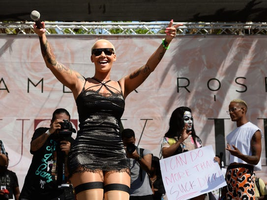 Amber Rose gets pumped for SlutWalk LA.