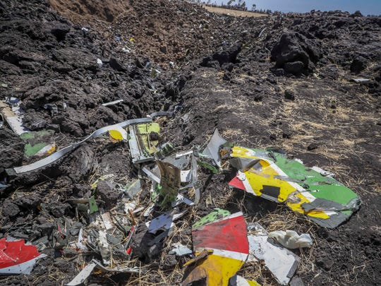Debris at the crash site of Ethiopian Airlines Flight