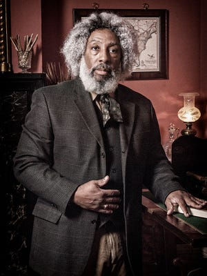 Nathan Richardson is pictured as 19th century abolitionist Frederick Douglass.