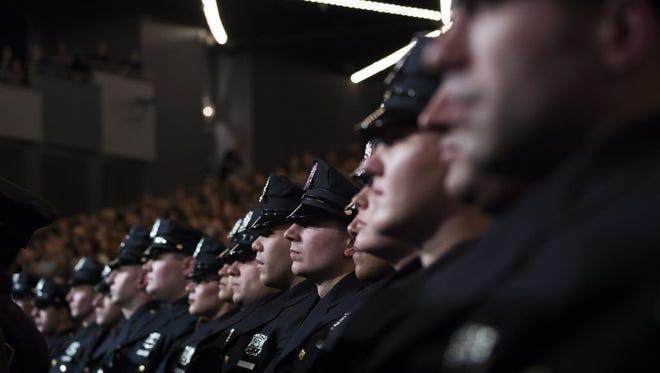New York City Police Academy graduation ceremony on March 30, 2017.