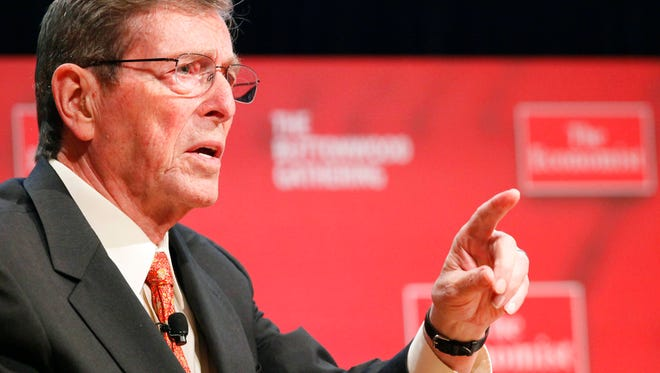 In this Tuesday, Oct. 26, 2010, file photo, Pete Domenici, former Senator from New Mexico, speaks at the Buttonwood Gathering, in New York.