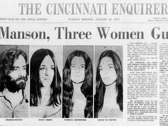 The Cincinnati Enquirer, Jan. 27, 1971, reporting the guilty verdict against former Cincinnatian Charles Manson and his Manson Family members.