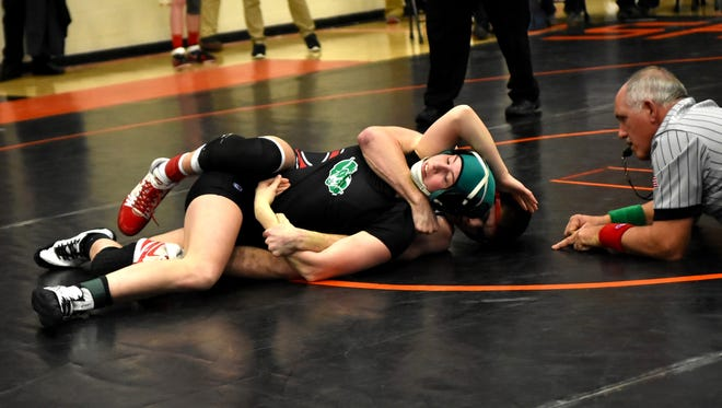 Andrea Schlabach of Badin grapples hard in first round action at the 2018 SWDAB Division 2 District Wrestling Tournament, March 2, 2018.
