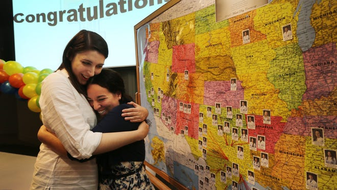 Texas Tech University Health Sciences Center El Paso Paul L. Foster School of Medicine Class of 2017 students Sandra Aziz, left, and Emily Moody embrace after finding out they will serve residencies together at the University of New Mexico School of Medicine in Albuquerque. They were among 85 senior medical students who were matched through the National Residency Match Program, which oversees a computerized process that links the choices of graduating medical students with preferences of residency program directors around the country. The results were announced at 10 a.m. Mountain Time across the country. More than half of the students will remain in Texas for their residencies and 60% matched into primary care medicine. Aziz and Moody will both have pediatrics specialties.