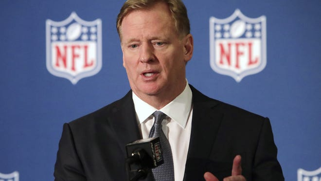 In this Dec. 12, 2018, file photo, NFL commissioner Roger Goodell speaks during a news conference in Irving, Texas.