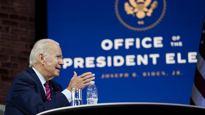President-elect Joe Biden speaks during a meeting at The Queen theater Monday, Nov. 23, 2020, in Wilmington, Del.