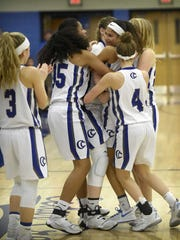 The Cedar Crest girls basketball team hopes to be celebrating like this after Tuesday night's 6A district semifinal clash with Central Dauphin at Giant Center.
