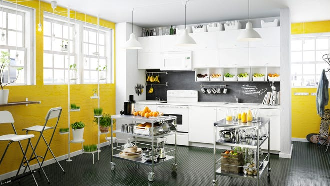 Steel rolling cart such as these Flytta carts from Ikea can work as mobile prep surfaces as well as moving storage. In a small kitchen they're practical for everyday use; in a larger one they're handy to store baking/sweets decorating accessories or any gear that isn't needed frequently.