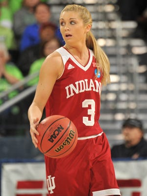 Indiana Hoosiers guard Tyra Buss (3) moves up court against the Notre Dame Fighting Irish in the first half  in the second round of the 2016 women's NCAA Tournament at Edmund P. Joyce Center.